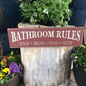 Bathroom Rules Sign Red